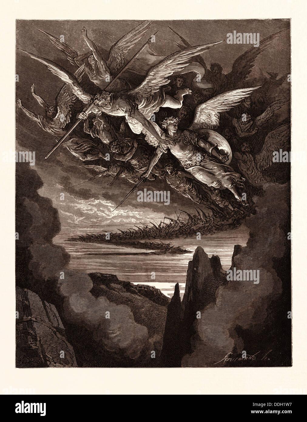 DIE GEFALLENEN ENGEL AM FLÜGEL, VON GUSTAVE DORÉ. Dore, 1832-1883, Französisch. Gravur für Paradise Stockbild