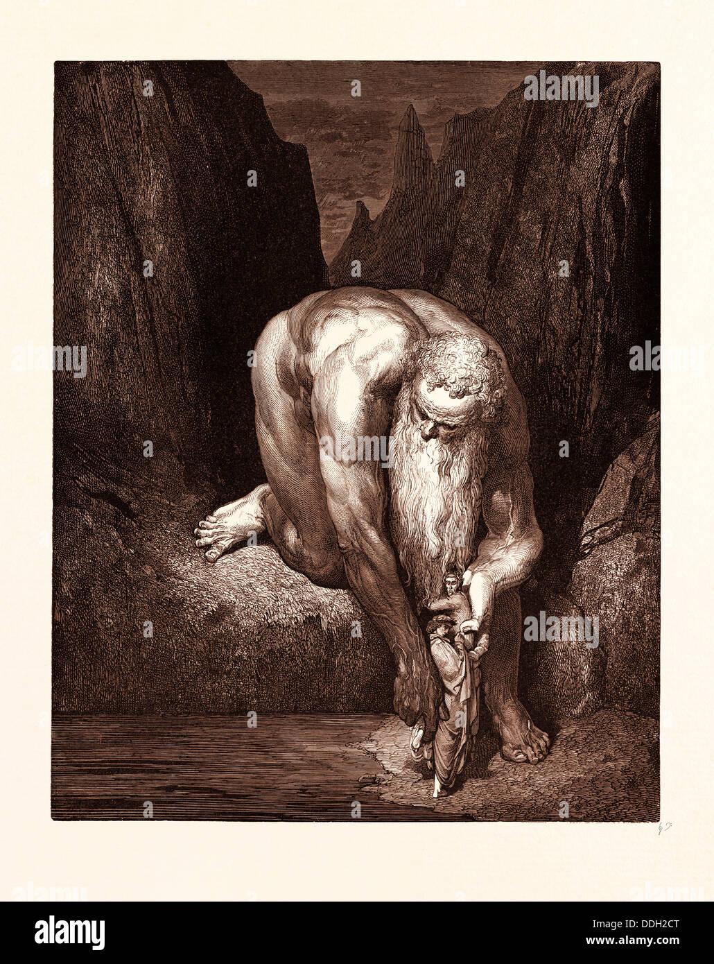 DER Riese ANTAEUS, von GUSTAVE DORE, 1832-1883, Französisch. Gravur für das Inferno von Dante. 1870, Kunst, Stockbild