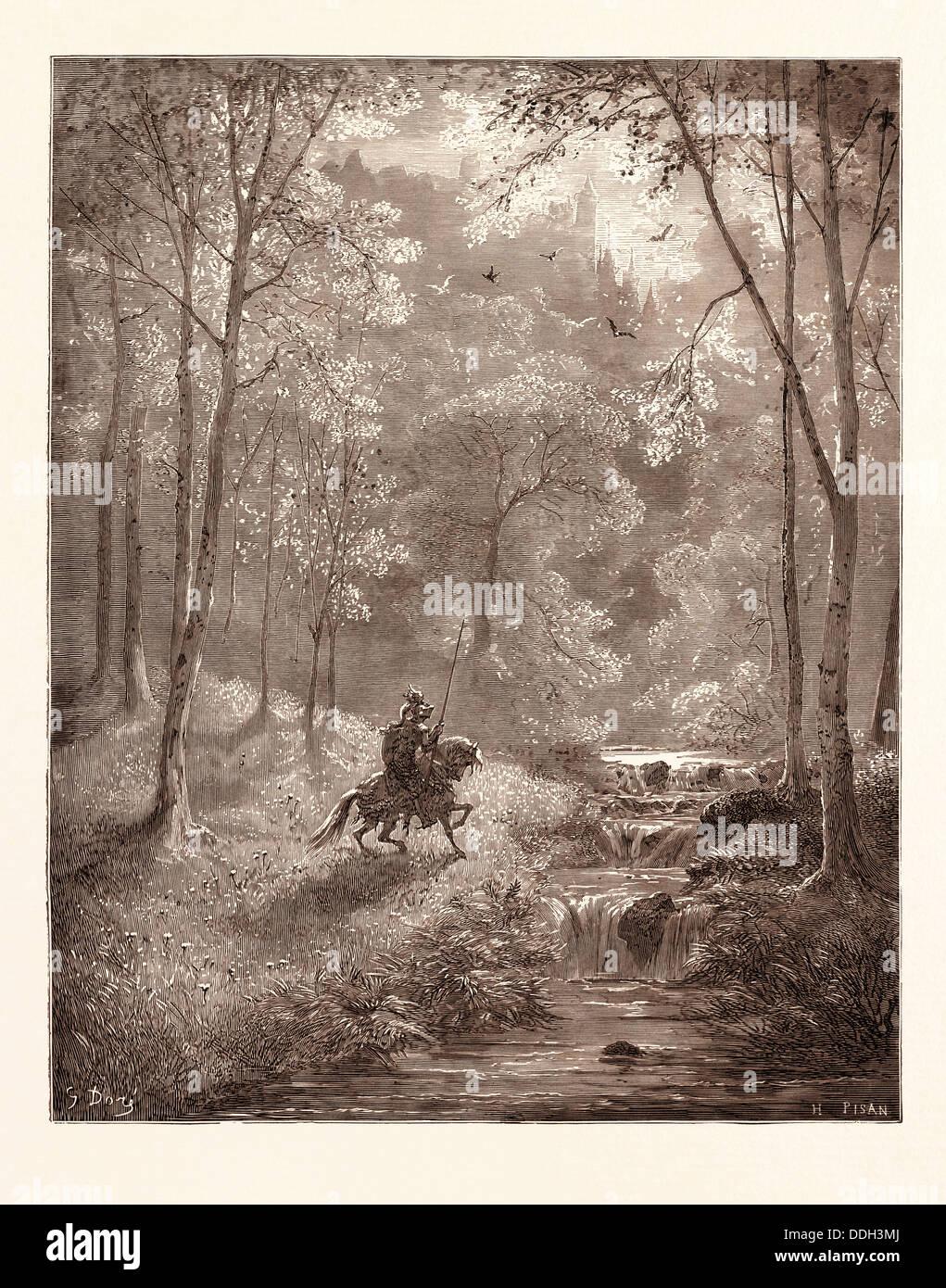 MÄRCHENLAND, VON GUSTAVE DORÉ. Dore, 1832-1883, Französisch. Gravur für Don Quijote von Cervantes. Stockbild