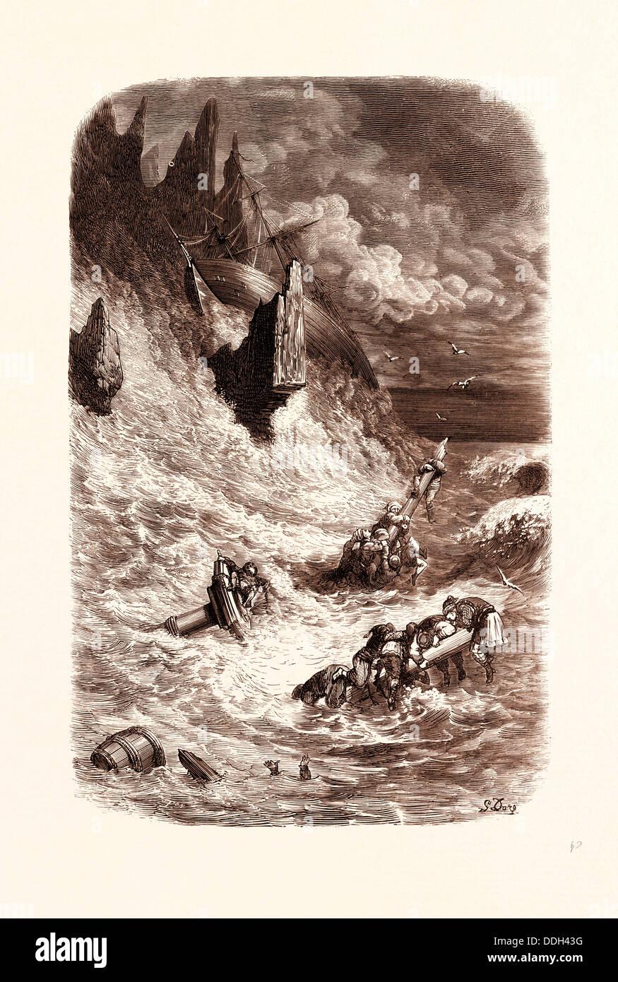 VERSEILUNG von SINBADS Schiff, von GUSTAVE DORE, 1832-1883, Französisch. 1870, Kunst, Künstler, Romantik, Stockbild