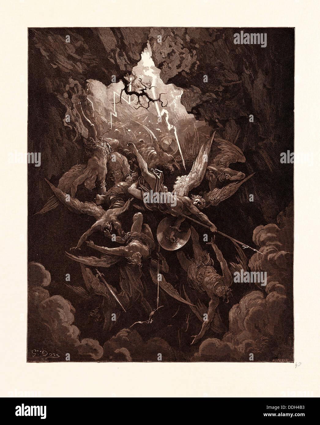 DER Mund der Hölle, von GUSTAVE DORE, 1832-1883, Französisch. Gravur für Paradise Lost von Milton. Stockbild