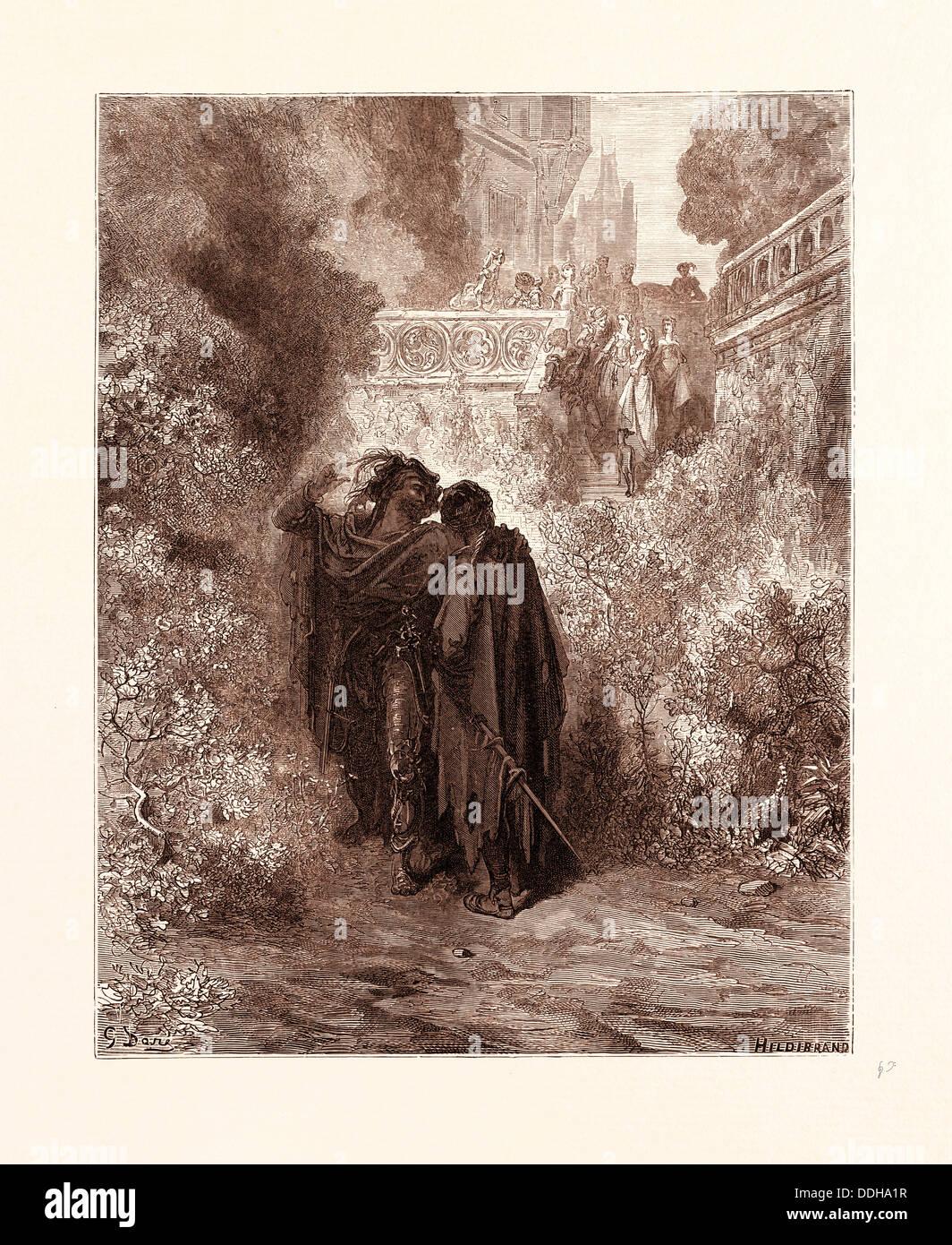 DER FUCHS UND DIE TRAUBEN VON GUSTAVE DORE. Eines der Aesop-Fabeln. Dore, 1832-1883, Französisch. 1870, Kunst, Künstler, Romantik Stockbild