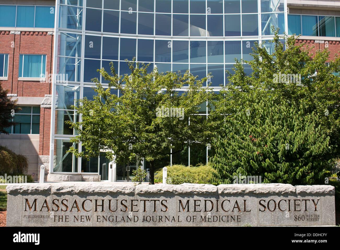 Der Hauptsitz der Massachusetts Medical Society, der Herausgeber des New England Journal Of Medicine. Stockbild