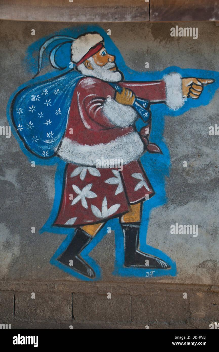 Santa Claus an eine Wand gemalt Stockbild
