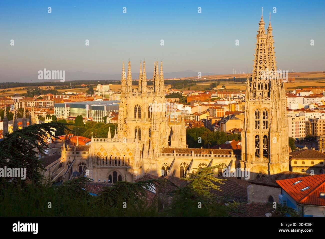 Panoramablick auf die Kathedrale. Burgos. Kastilien-León. Spanien. Stockbild