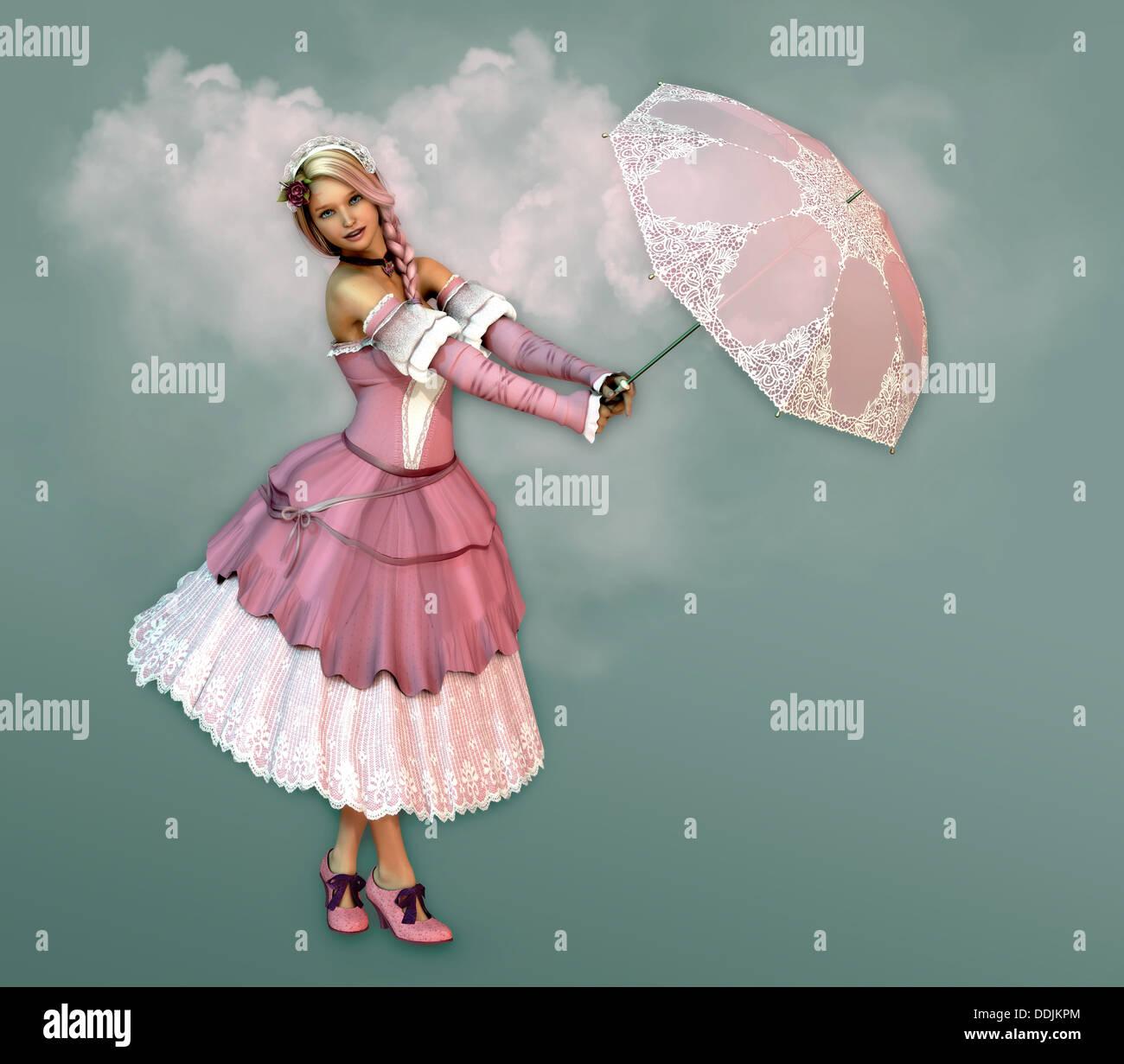 3D Computergrafik eines Mädchens in einem Kleid in der Französisch-romantischen Stil und ein Sonnenschirm Stockfoto