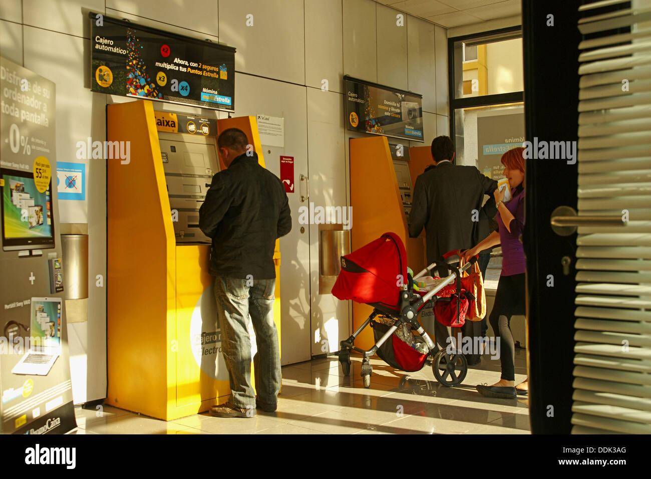 Geldautomaten, Malaga. Andalusien, Spanien Stockbild