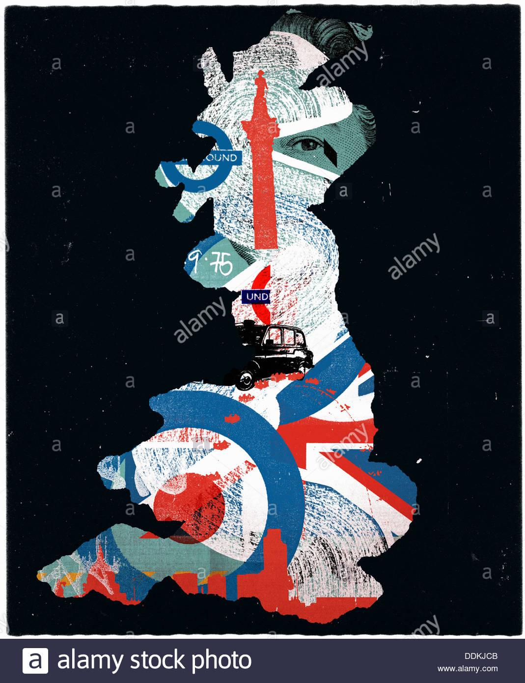 Britische Kultur Symbole in Gliederung des Vereinigten Königreichs Karte Stockbild