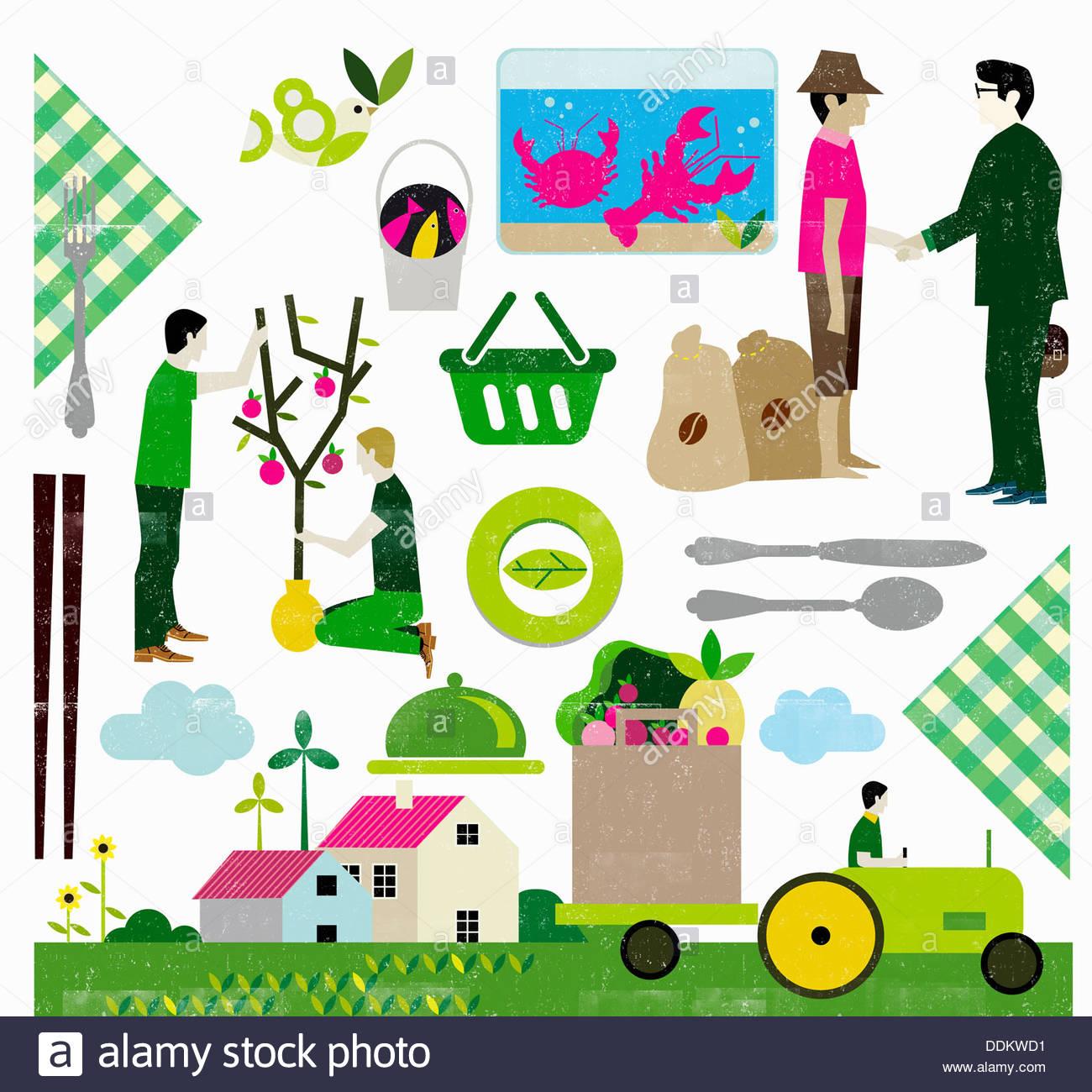 Herstellung von Öko-Lebensmitteln Stockbild