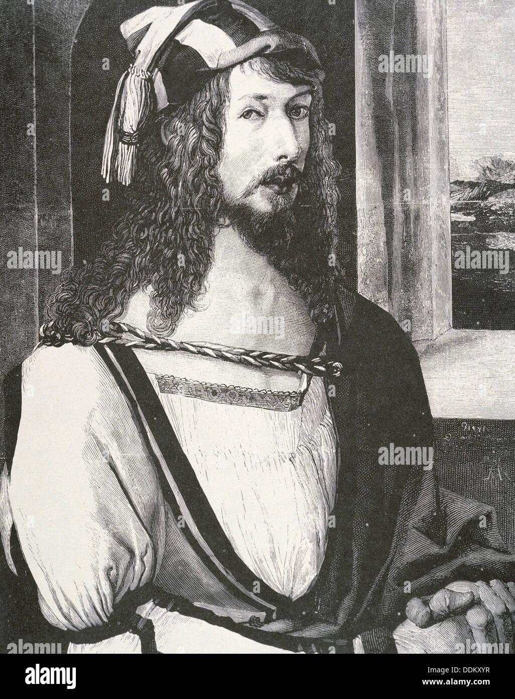 Albrecht Dürer (1471-1528), deutscher Maler und Grafiker. Gravur von ein Selbstporträt Stockbild