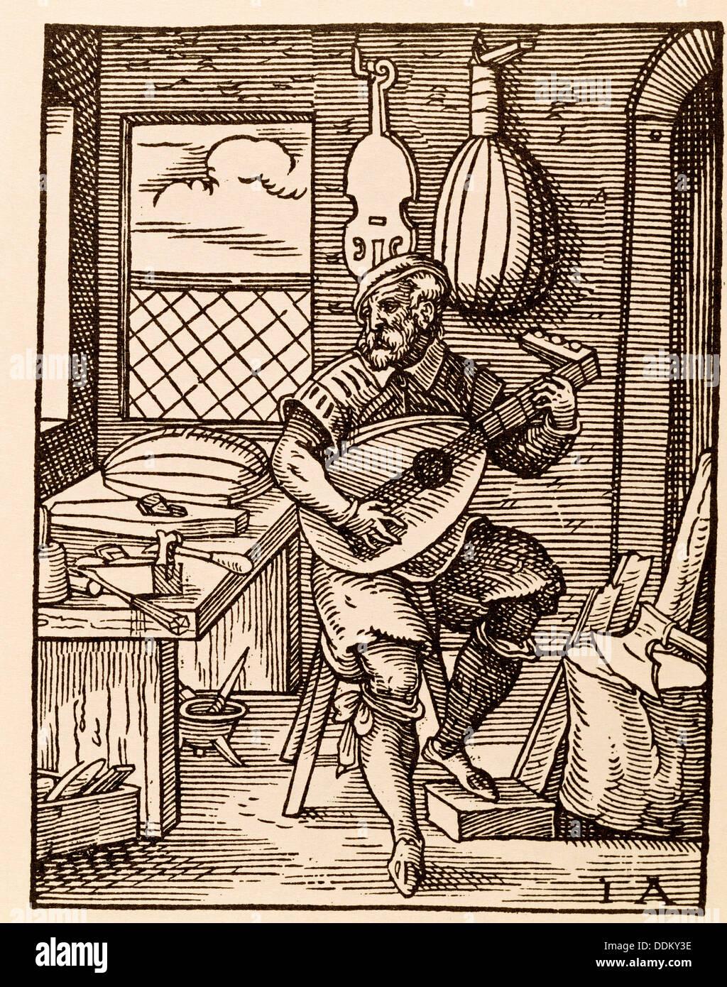 Laute-Hersteller. Stich von Jost Amman (1568) Stockbild