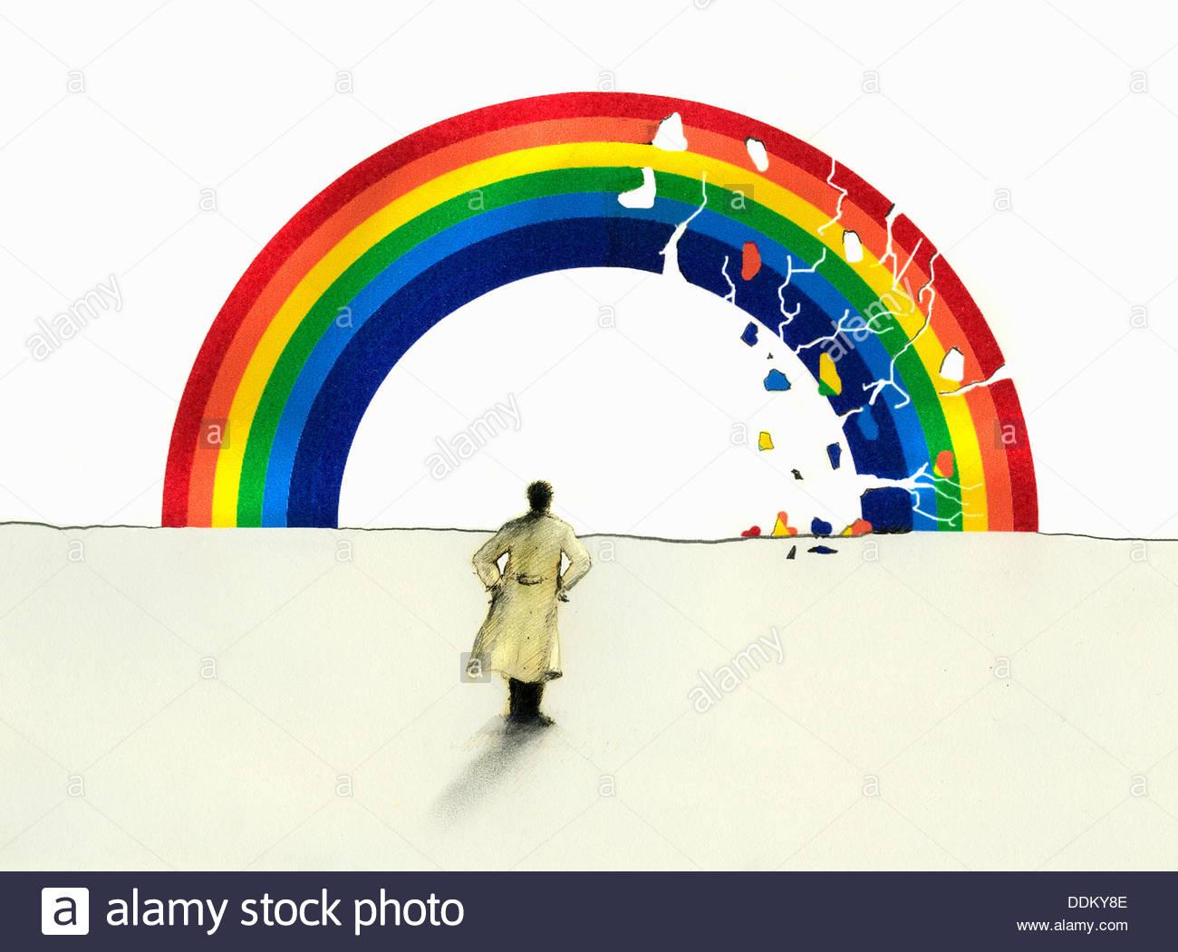Mann im Trenchcoat Blick auf Rissbildung Regenbogen Stockbild