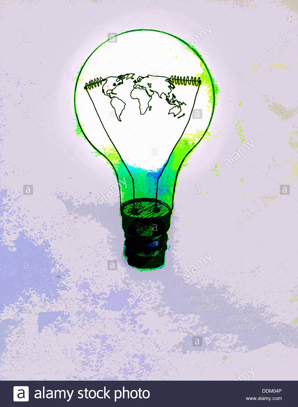 Weltkarte in grün Glühbirne Stockbild