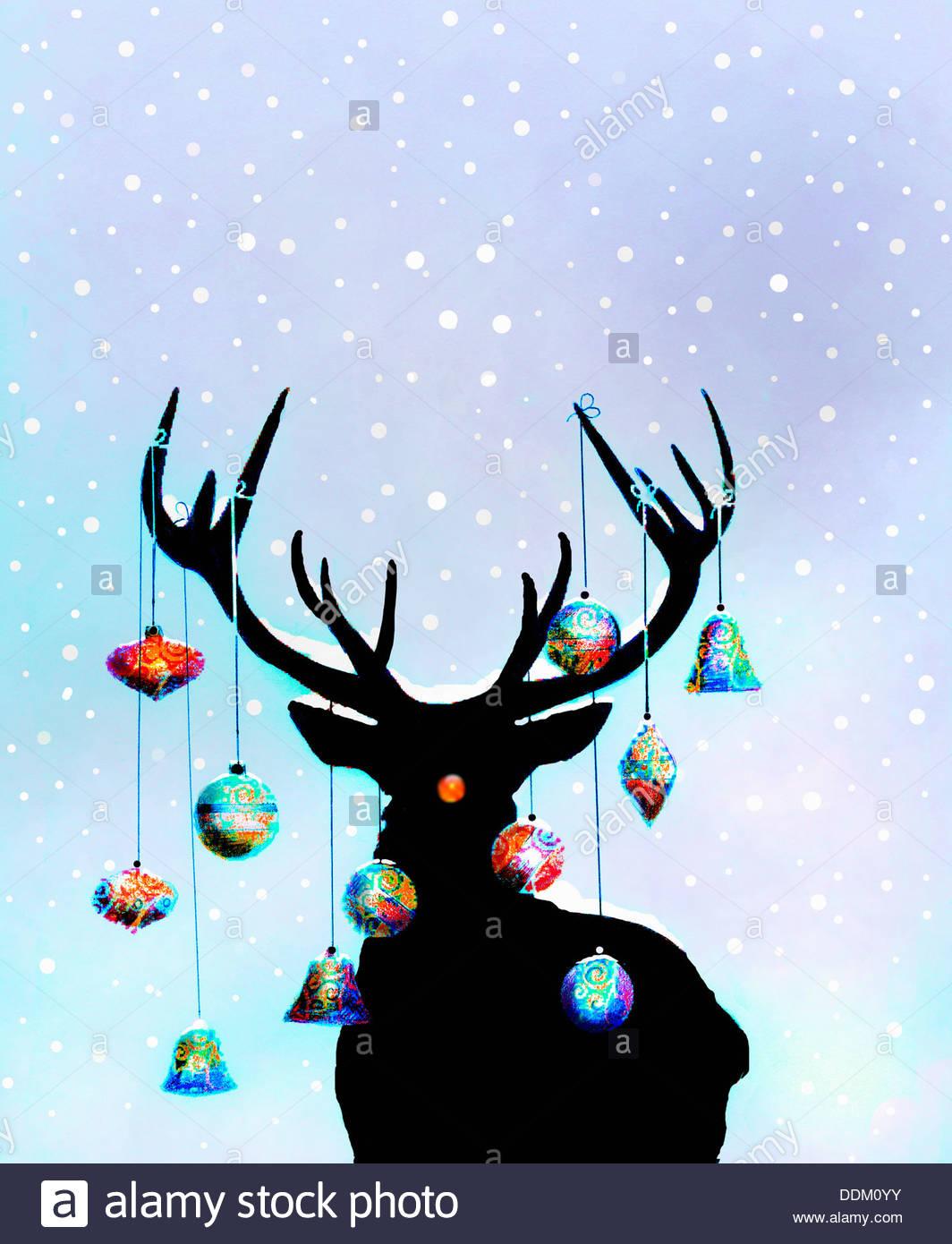 Weihnachtsschmuck hängen Geweihe von Rentieren Stockfoto, Bild ...