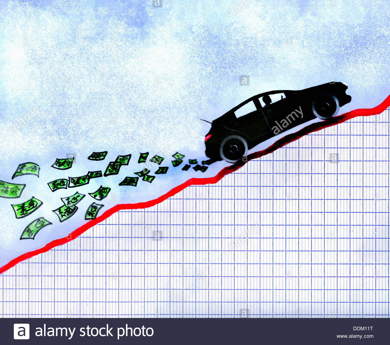 Auto auf aufsteigend Liniendiagramm mit Geld aus Auspuff Stockfoto ...