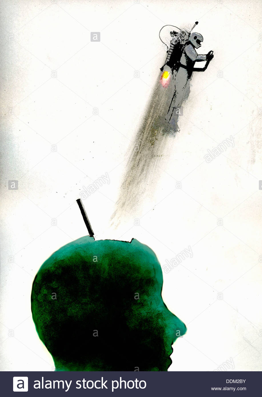 Mann mit Jet-Pack aus grünen Kopf Stockbild