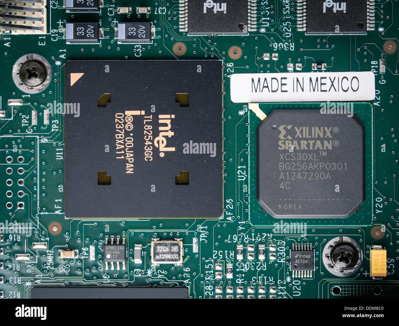 Hergestellt in Mexiko Platine mit Intel-Chip Stockbild