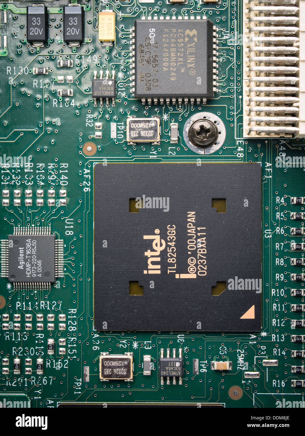 Made in Japan, Mikrochip Intel Flash Speicherplatine Stockbild