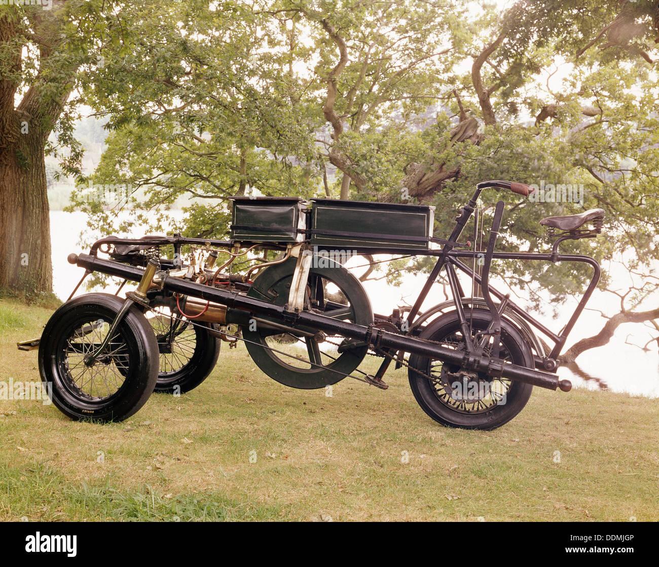 Ein 1896 Pennington Motor-Dreirad. Stockbild