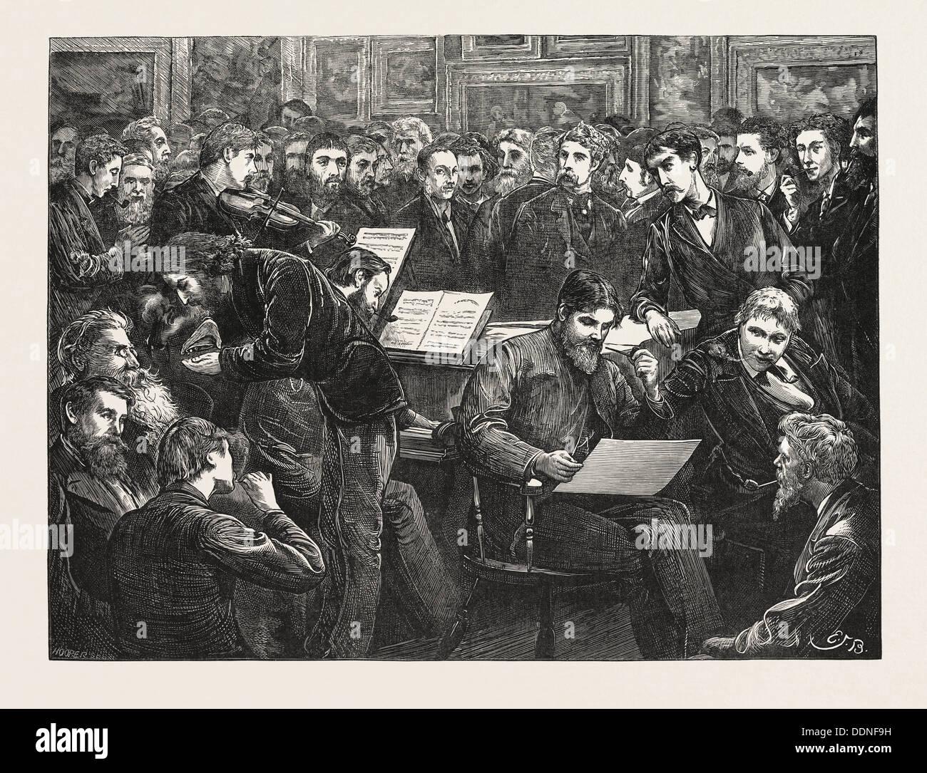 EIN KÜNSTLER SOIREE: EINE SKIZZE AN DER HOGARTH CLUB, UK, 1873 Stockbild