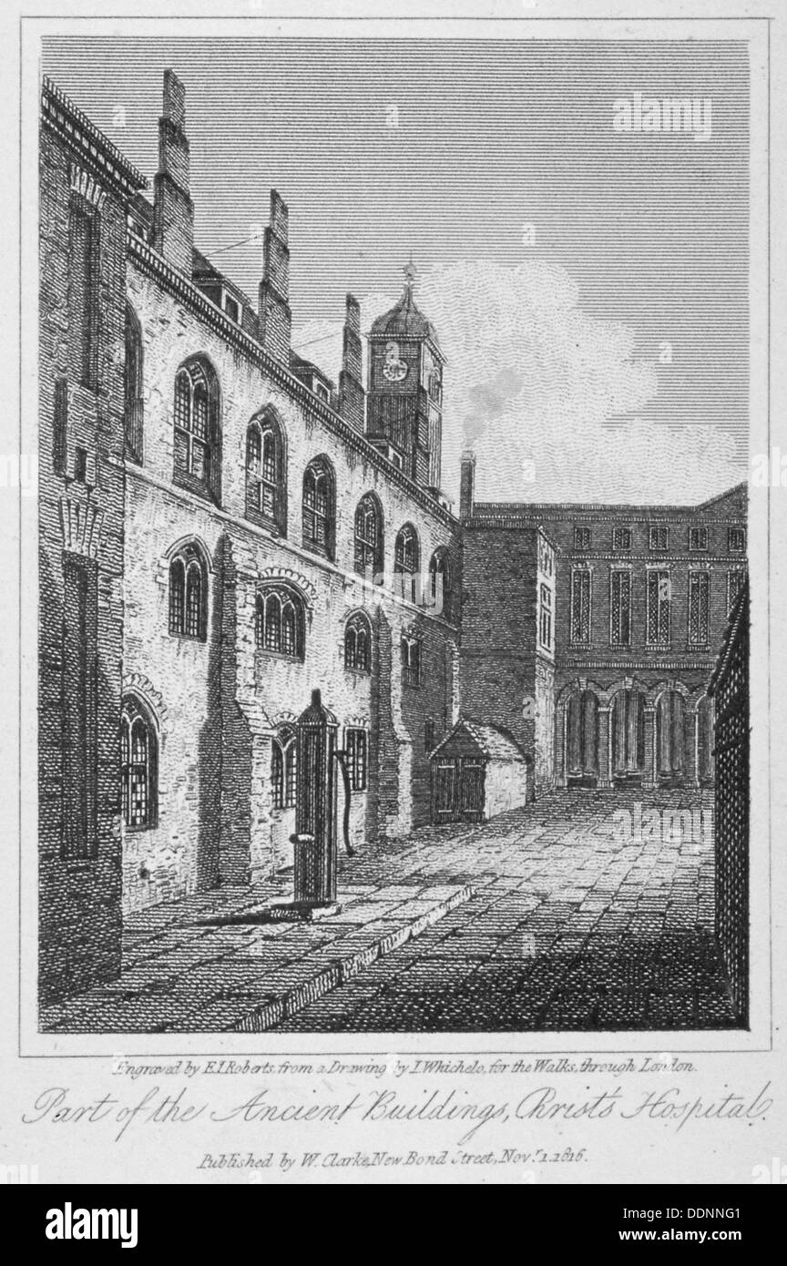 Blick auf Christi Krankenhaus und eine Wasserpumpe, City of London, 1816. Künstler: Edward John Roberts Stockbild