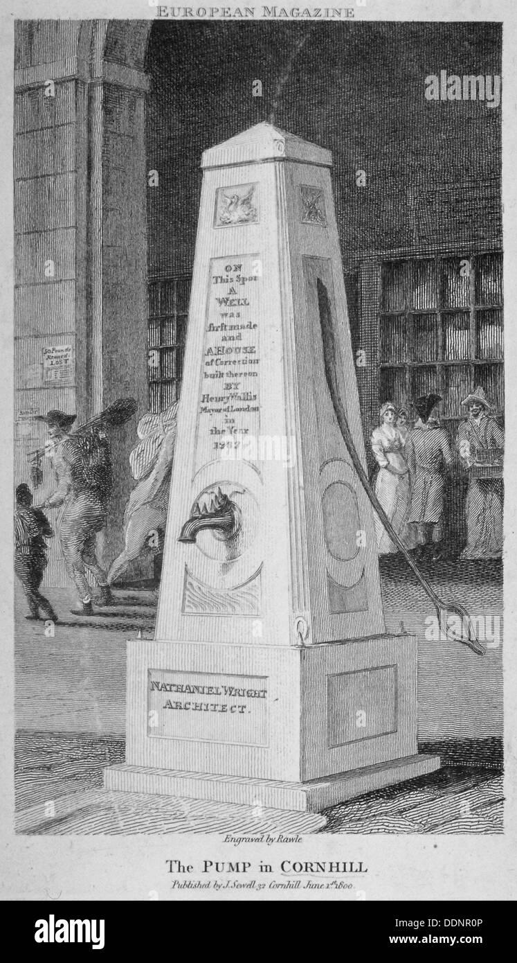 Wasserpumpe im Cornhill, City of London, 1800. Künstler: Samuel Rawle Stockbild