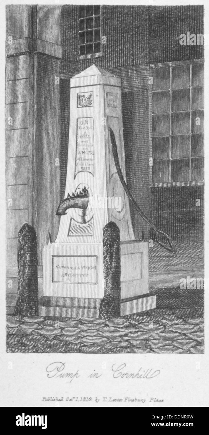 Wasserpumpe im Cornhill, City of London, 1816. Künstler: Anon Stockbild