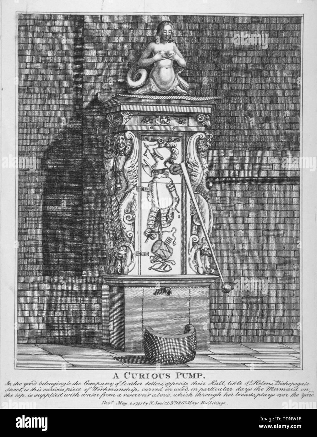 Kunstvolle Wasser-Pumpe auf dem Hof an Leathersellers' Hall, kleine St. Helen's, City of London, 1791. Künstler: Stockbild