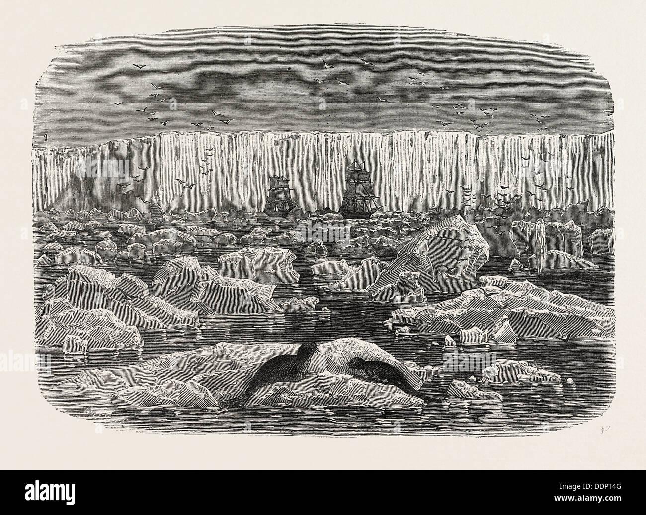 EISBARRIERE der ANTARKTISCHEN Kontinent, der 1870er Jahre Gravur Stockbild