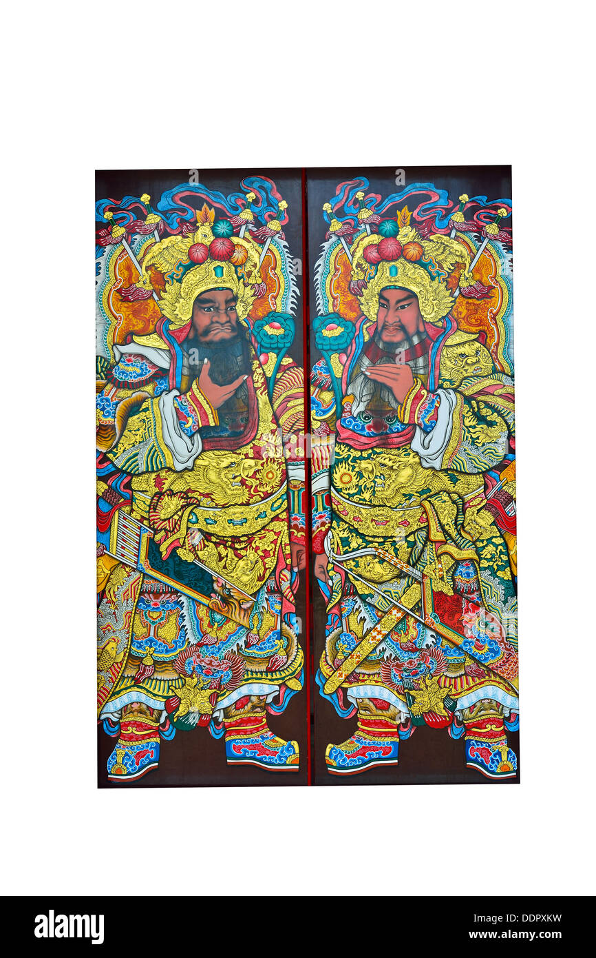 chinesische Tür Gott auf der Tür des chinesischen Tempels Stockbild