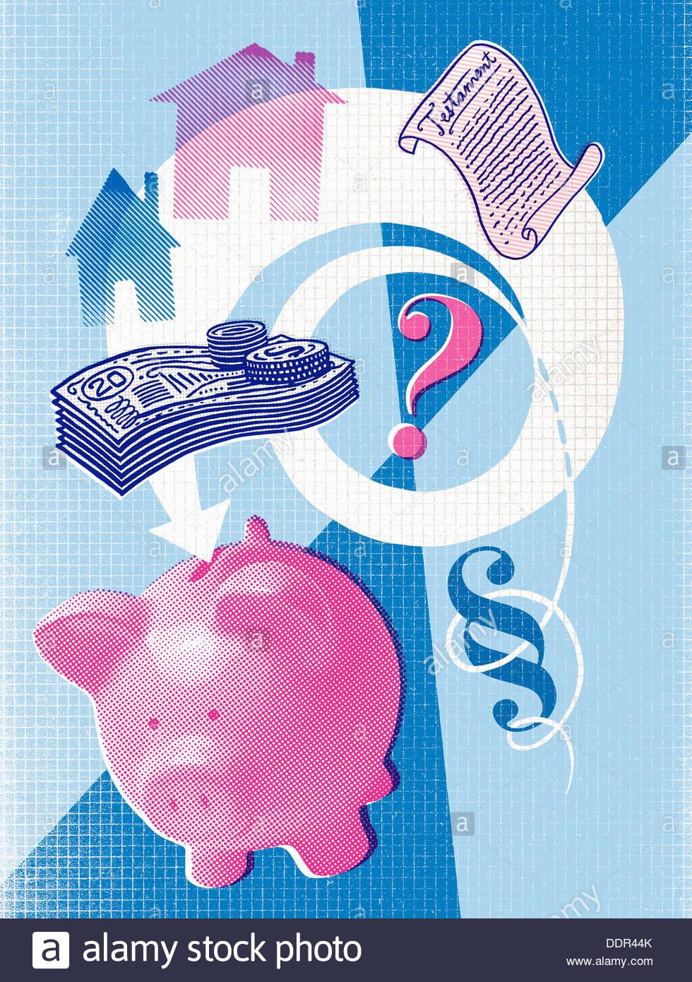 Fragezeichen mit Sparschwein, Haus, Geld und Wille Stockbild