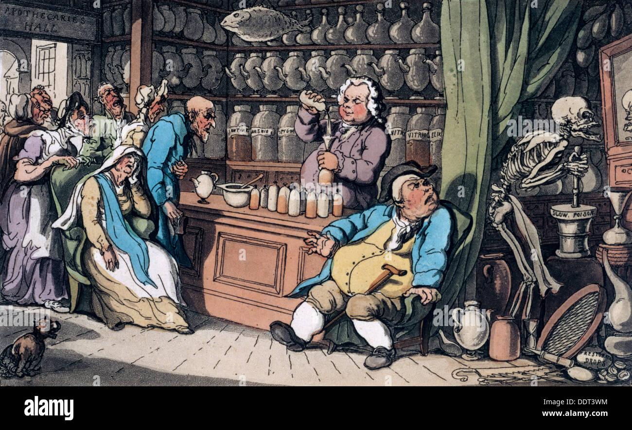 """""""Ich habe eine geheime Kunst zu heilen / jede Krankheit, die Menschen zu ertragen"""", 1814. Künstler: Thomas Rowlandson Stockbild"""