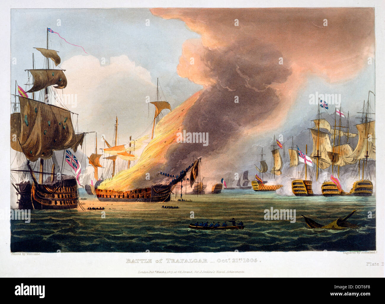 Die Schlacht von Trafalgar, 21. Oktober 1805 (1816). Künstler: Thomas Sutherland Stockbild