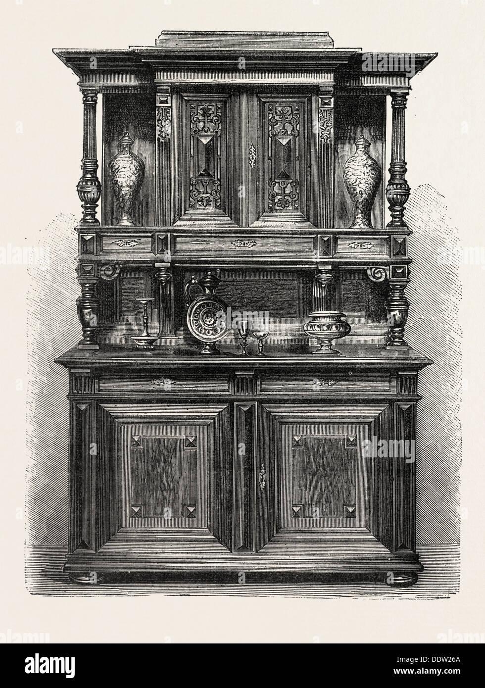 Sideboard Fur Esszimmer Mobel Gravur 1882 Stockfoto Bild