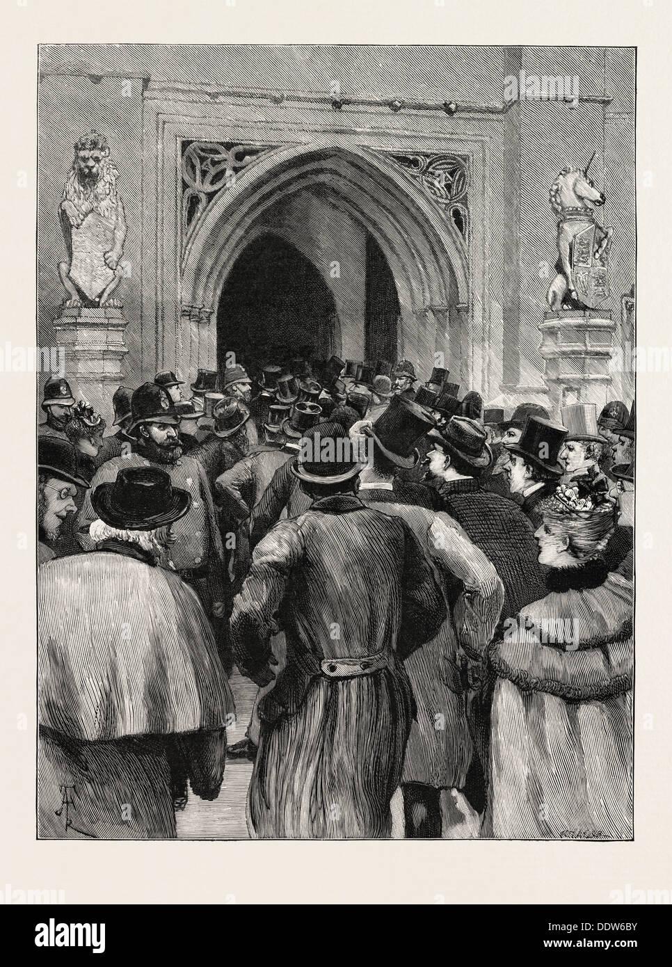 TOLLES Zuhause Artikel Aussprache: Szene an der Tür von der Haus der COMMONS, UK, 1893, 1893-Gravur Stockbild