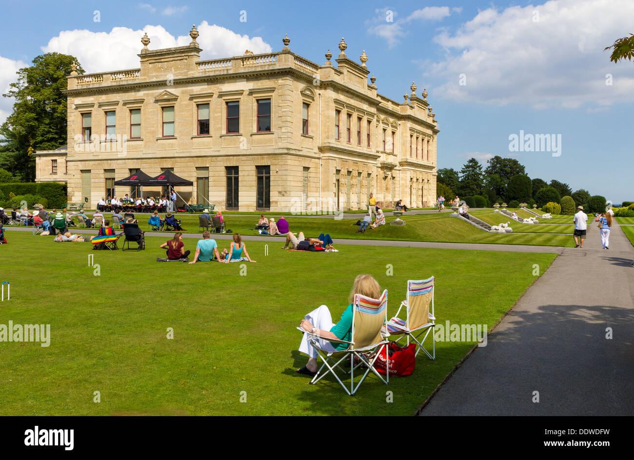 Die York RI Golden Rail Band durchzuführen bei The Nachmittag Band Konzert in Doncaster, South Yorkshire Brodsworth Stockfoto
