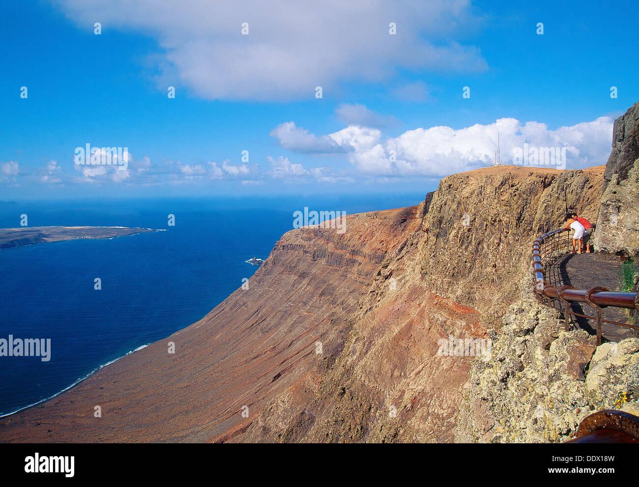 El Rio Sicht. Lanzarote, Insel, Kanaren, Spanien. Stockbild