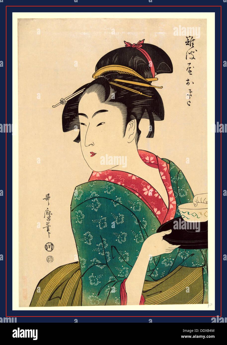 Naniwaya Okita, Okita Naniwa-ya. [1793, später gedruckt], 1 print: Holzschnitt, Farbe, Print zeigt Naniwaya Stockbild