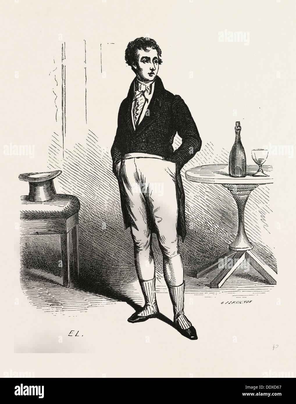 Francois Picaud, Alexander Dumas, 19. Jahrhundert, Liszt Gourmet-Archiv, Flasche, Glas, Tisch, Mann, Hut Stockbild