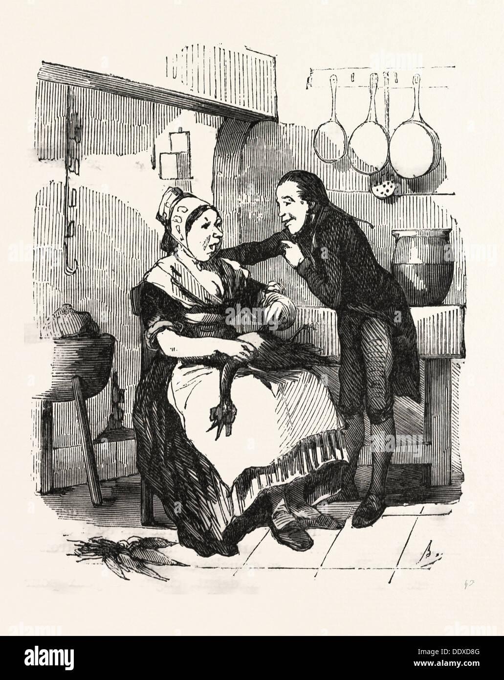 Der Koch und ihre Bewunderer in der Küche, Reinigung eine Gans ...