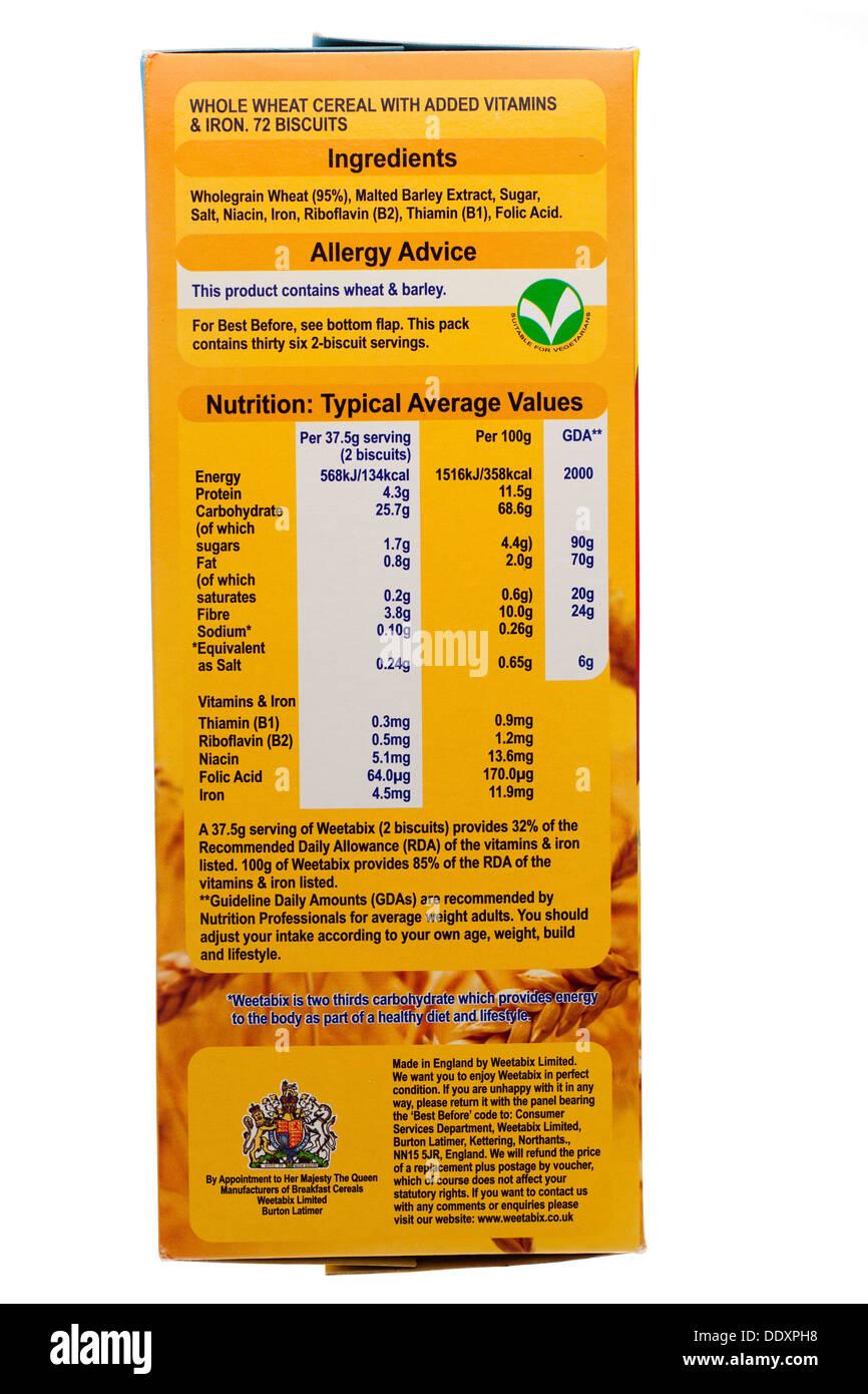 Zutaten-Allergie Beratung RDA Ernährung GDA und servieren Empfehlung label Stockbild