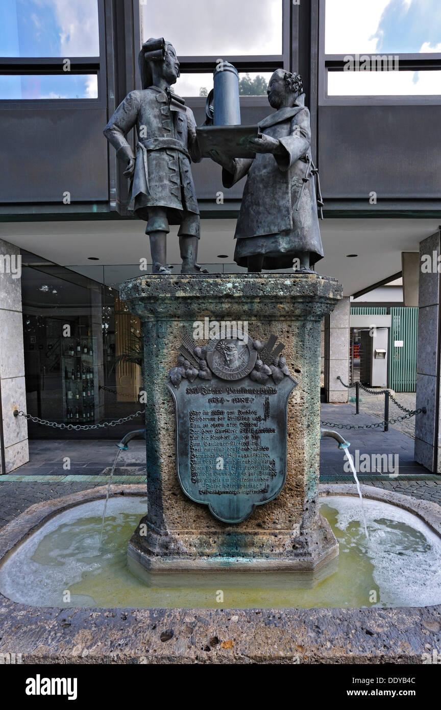 Paulaner-Brunnen-Brunnen auf dem Nockherberg Hill, Hochstrasse Straße 75, München, Bayern Stockbild
