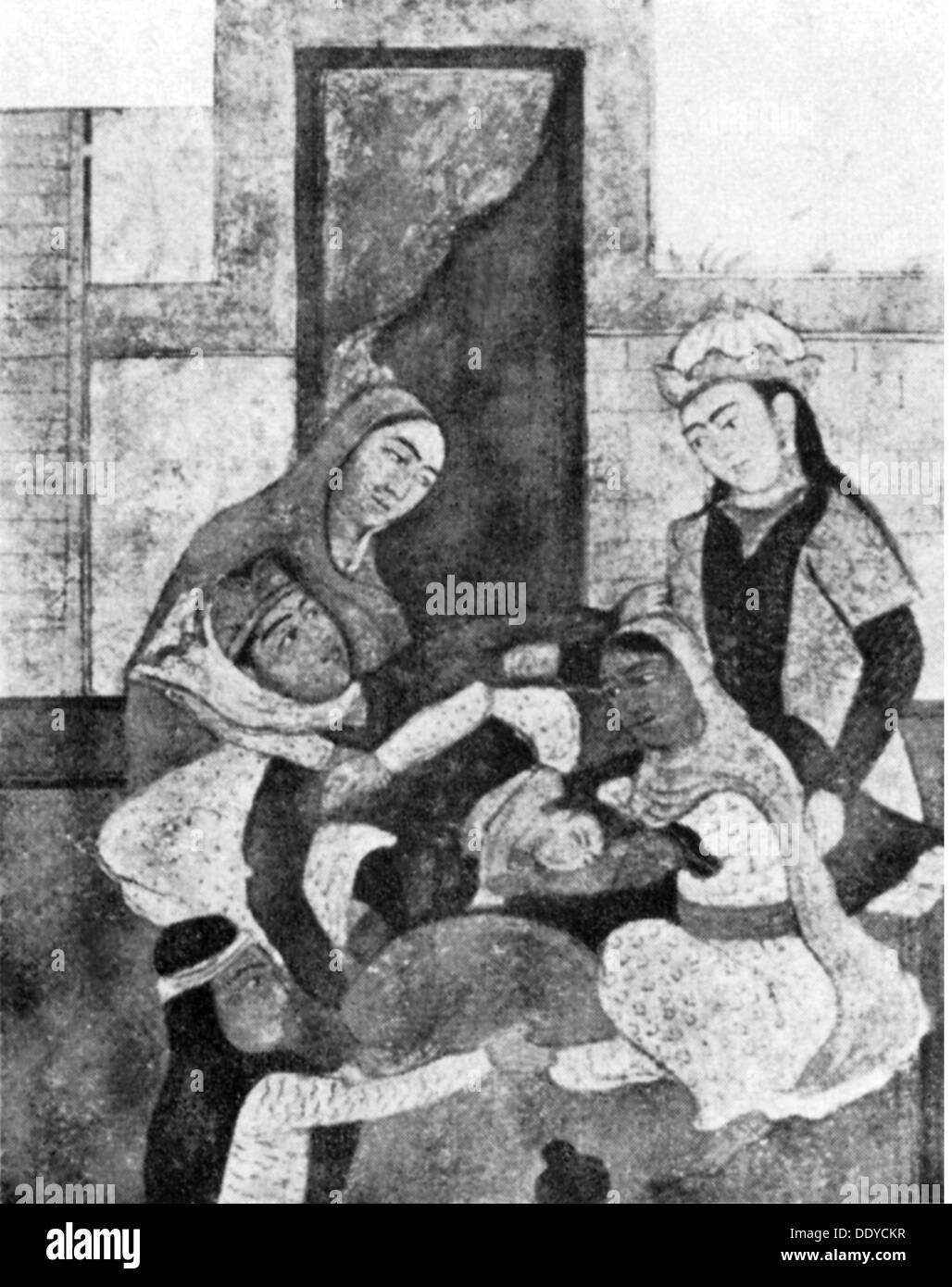 Medizin-Geburt / Gynäkologie Geburt mit vier Hebammen Zeichnung aus einem Werk von Ferdowsi (940 / 941-1020) Persien circa 1000 n. Chr. Stockbild