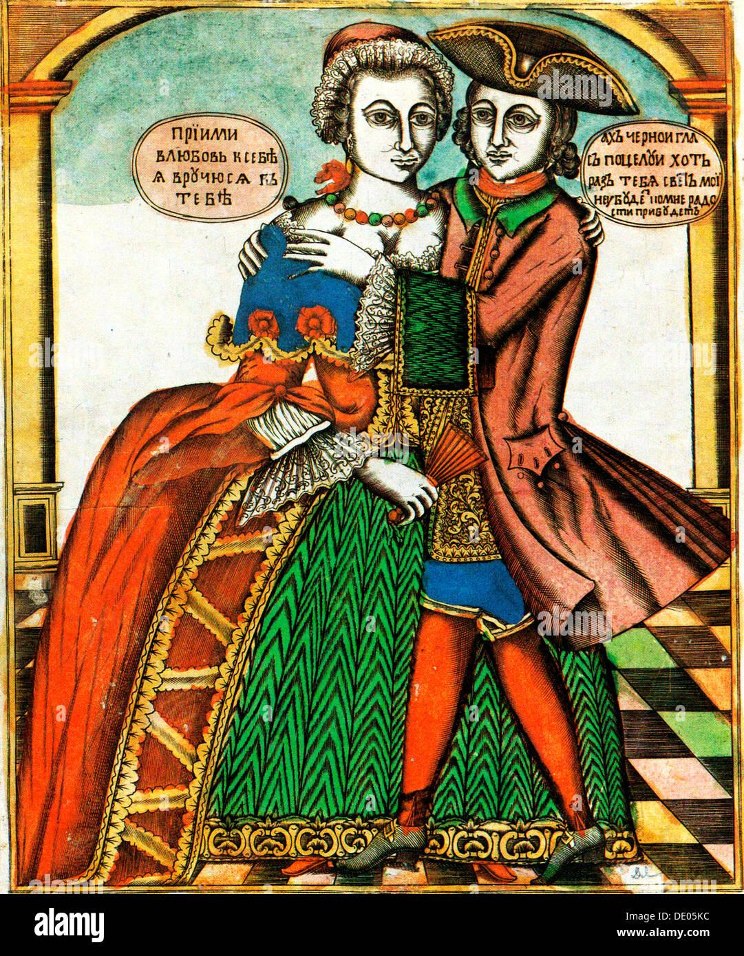 'Dark Eyes', Lubok Druck, Mitte des 18. Jahrhunderts. Stockbild