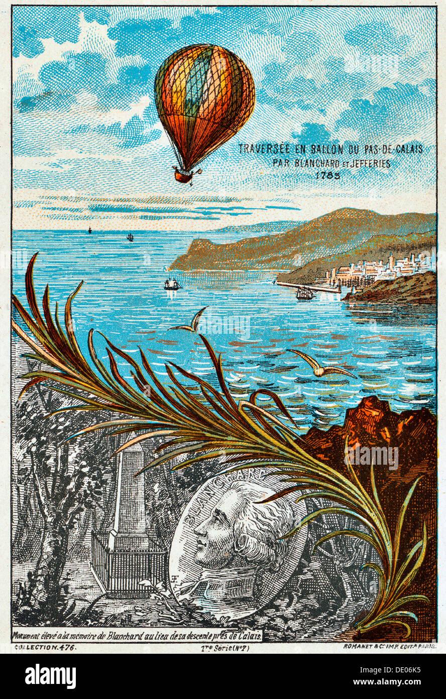 Überquerung des Ärmelkanals von Blanchard und Jeffries, 1785 (1890er Jahre). Künstler: Anon Stockfoto