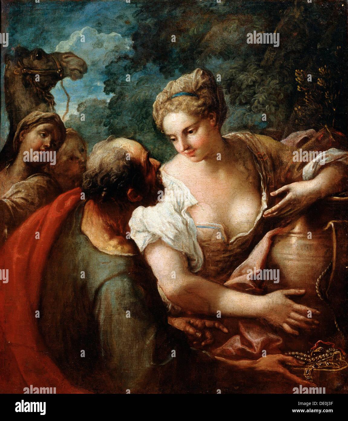 """""""Rebekka am Brunnen"""", aus dem 16. Jahrhundert. Künstler: Tizian Stockbild"""