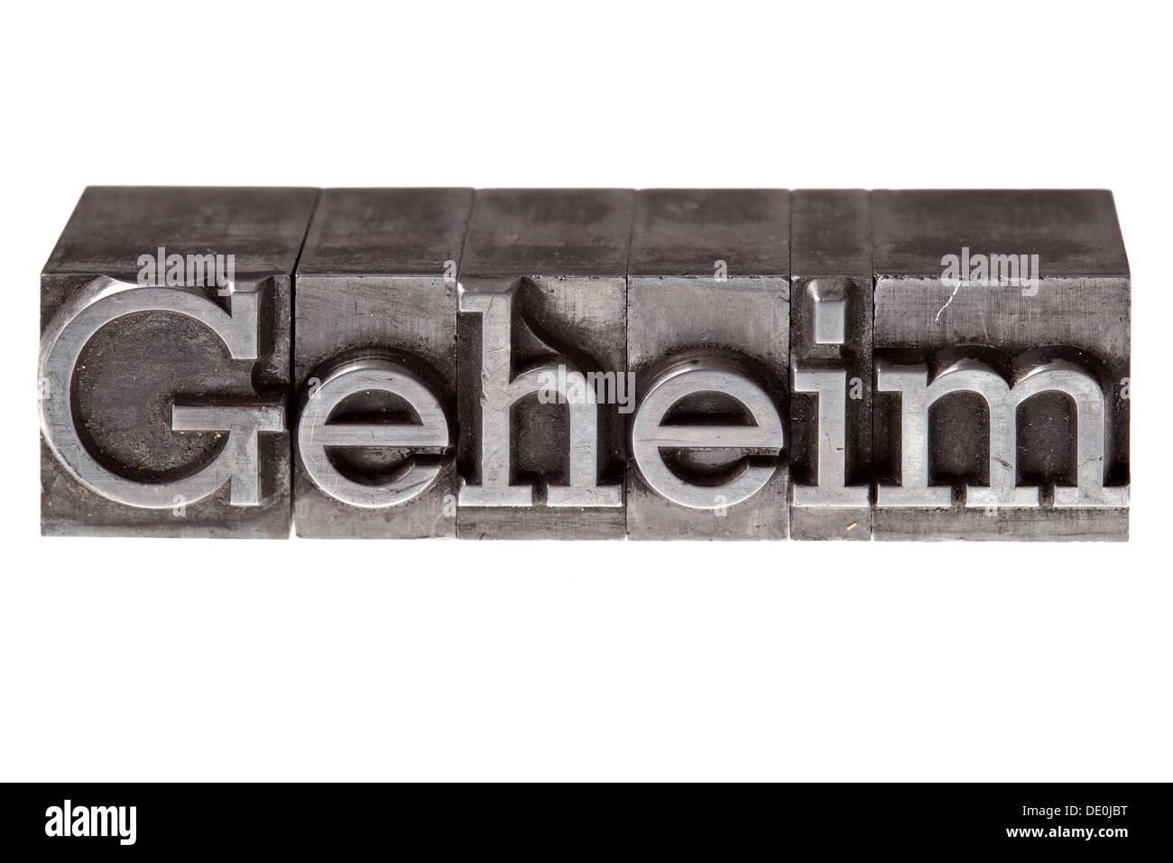 """Alten führen Buchstaben bilden das Wort """"Geheim"""", """"heimlich"""" Stockbild"""