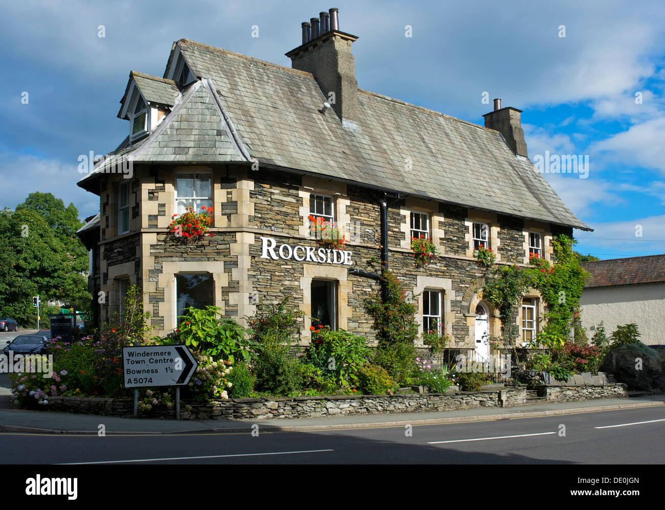 Rockside Guesthouse in der Stadt Windermere, Lake District National Park, Cumbria, England UK Stockbild