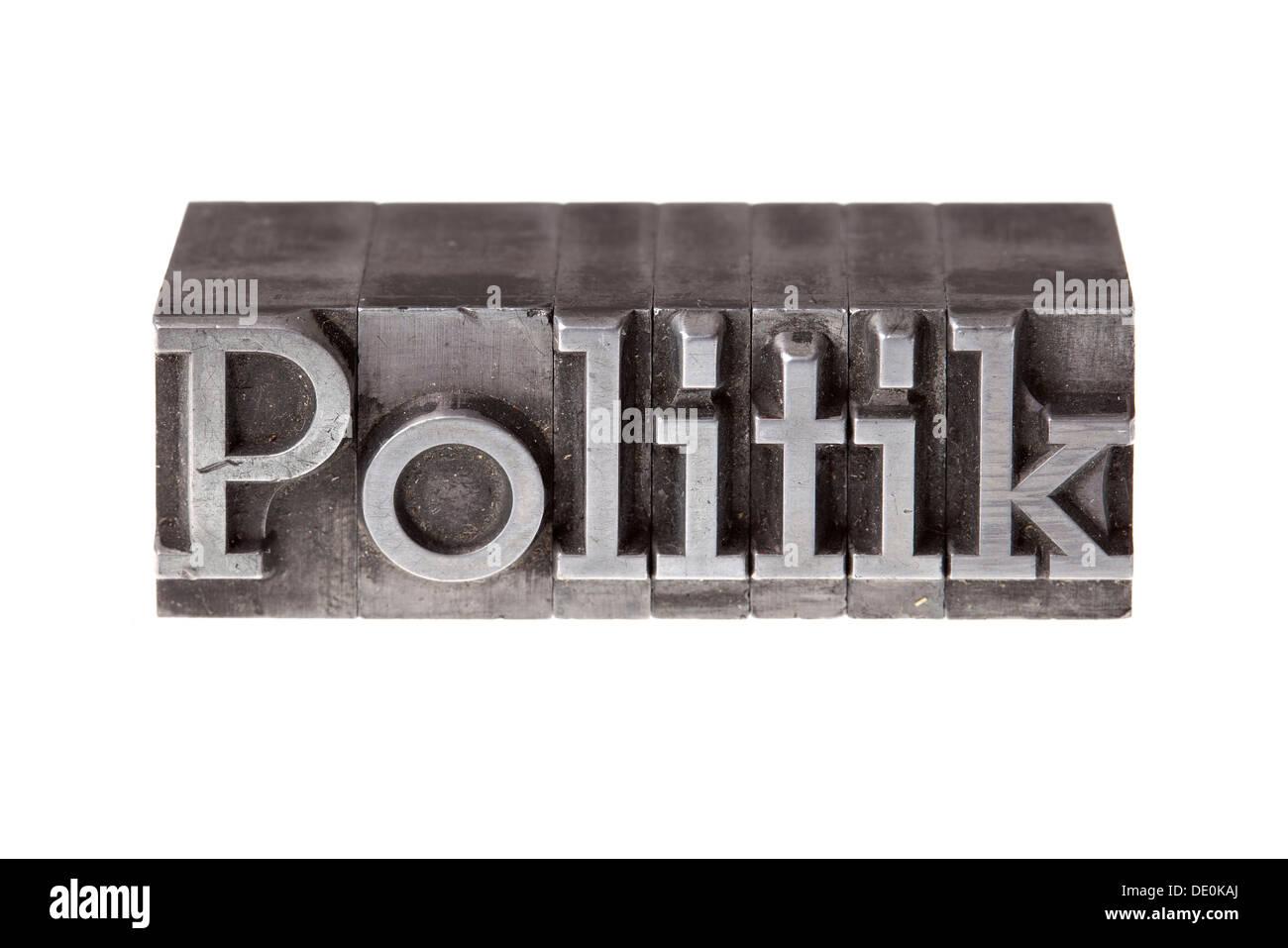 """Alten führen Buchstaben bilden das Wort """"Politik"""", Deutsch für Politik Stockbild"""