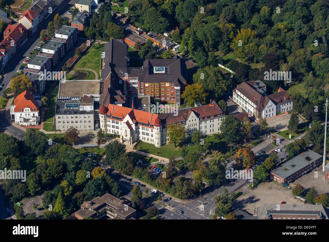 Luftaufnahme, St.-Marien-Hospital, Gelsenkirchen-Buer, Ruhrgebiet, Nordrhein-Westfalen Stockbild